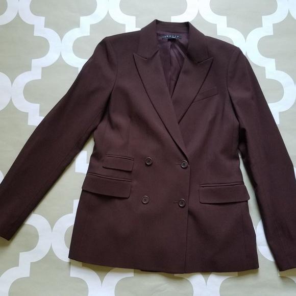 cd22f73003 Theory Jackets & Coats | Double Breasted Maroon Blazer Sz 6 | Poshmark